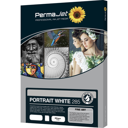 PermaJetUSA Portrait White 285 Smooth Fine Art Paper (A2, 25 Sheets)