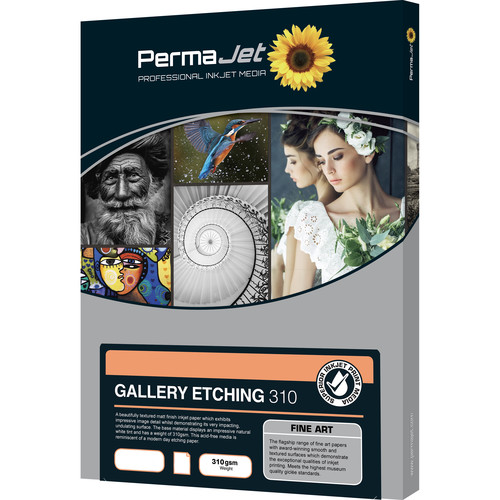 PermaJetUSA Gallery Etching 310 Textured Fine Art Paper (A3+, 25 Sheets)