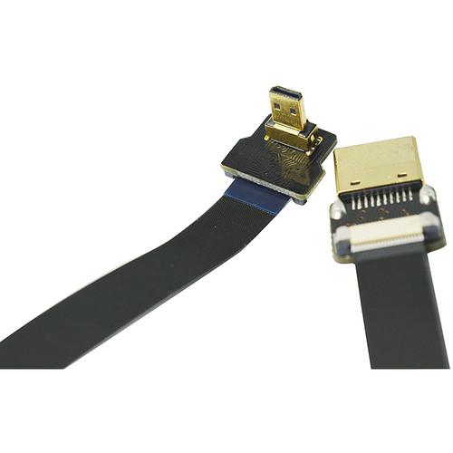 "PFY Ultra Thin Micro D2 HDMI(-90Degree)to Standard HDMI Flat Ribbon Cable-20"""