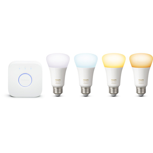 Philips Hue A19 Starter Kit (White Ambiance, 4-Pack)