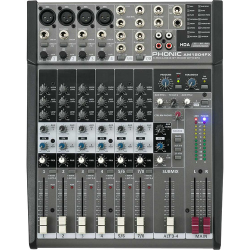 Phonic AM1204FX 8-Channel Mixer with Built-In FX