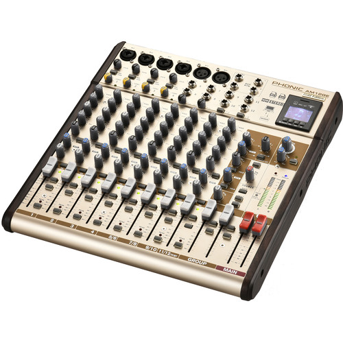 Phonic AM12GE - AM Gold Edition Compact Mixer with Group Output, DFX, Bluetooth, TF Recorder, and USB Interface