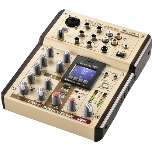 Phonic AM5GE - AM Gold Edition Compact Mixer with Bluetooth, TF Recorder, and USB Interface
