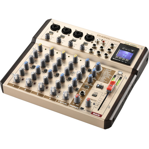 Phonic AM8GE - AM Gold Edition Compact Mixer with DFX, Bluetooth, TF Recorder, and USB Interface
