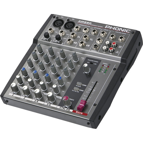 Phonic AM 220 2-Mic/Line 2-Stereo Input Compact Mixer