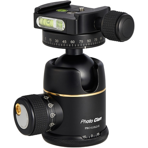 Photo Clam Pro Gold 2 Ball Head with Screw Knob Clamp (Black)