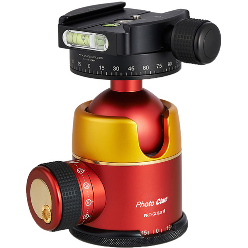 Photo Clam Pro Gold 2 Ball Head with Screw Knob Clamp (Gold/Red)