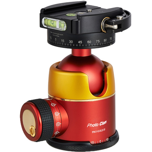 Photo Clam Pro Gold 2 Ball Head with Lever-Lock Quick Release (Gold/Red)