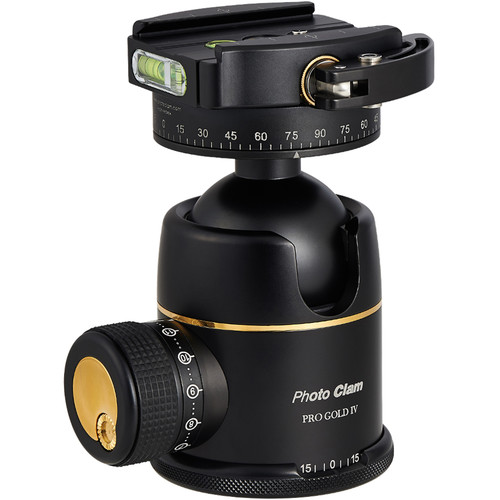 Photo Clam Pro Gold 4 Premium Ball Head with Lever-Lock Quick Release (Black)