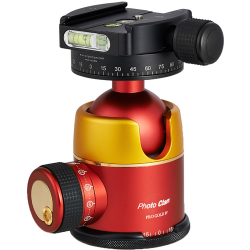 Photo Clam Pro Gold 4 Premium Ball Head with Screw-Knob Clamp (Gold/Red)