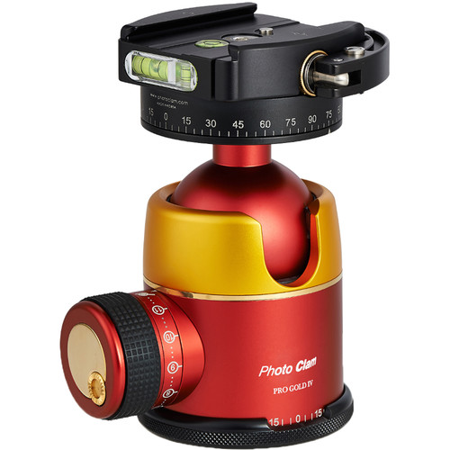Photo Clam Pro Gold 4 Ball Head with Lever-Lock Quick Release (Gold/Red)
