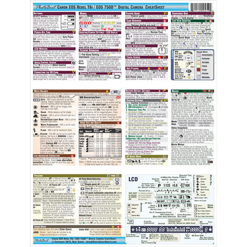 PhotoBert Cheat Sheet for Canon EOS Rebel T6i/750D DSLR Camera