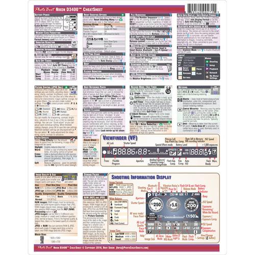 PhotoBert Cheat Sheet for Nikon D3400 DSLR Camera