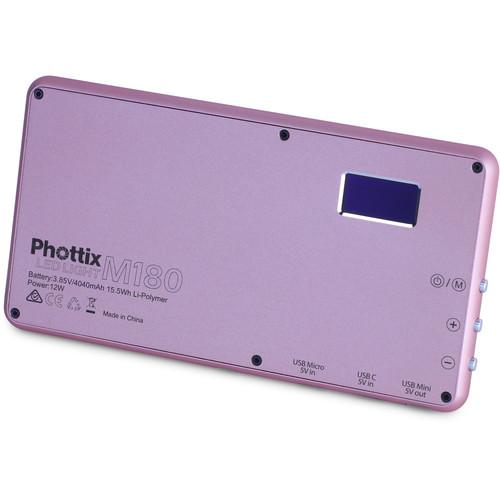 Phottix M180 Bi-Color LED Panel and Power Bank (Rose Gold)