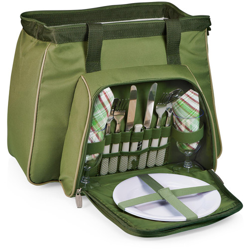 Picnic Time Toluca Cooler Tote (Pine Green with Tan)