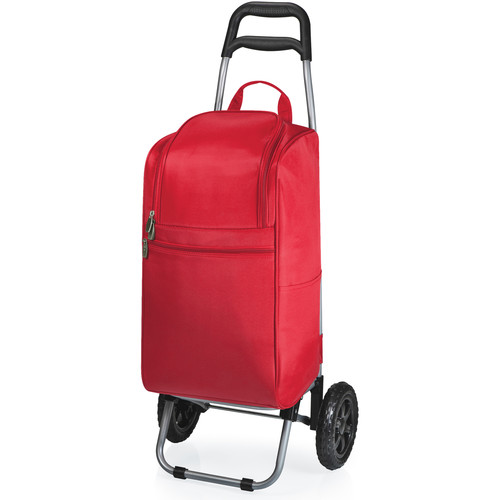 Picnic Time Cart Cooler with Trolley (15 Quart, Red)
