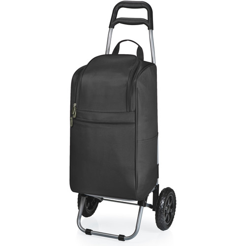 Picnic Time Cart Cooler with Trolley (15 Quart, Black)