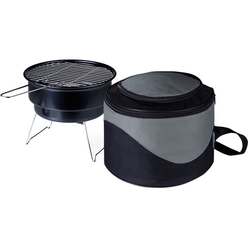 "Picnic Time Caliente 10"" Portable Charcoal Grill with Cooler Tote Bag"