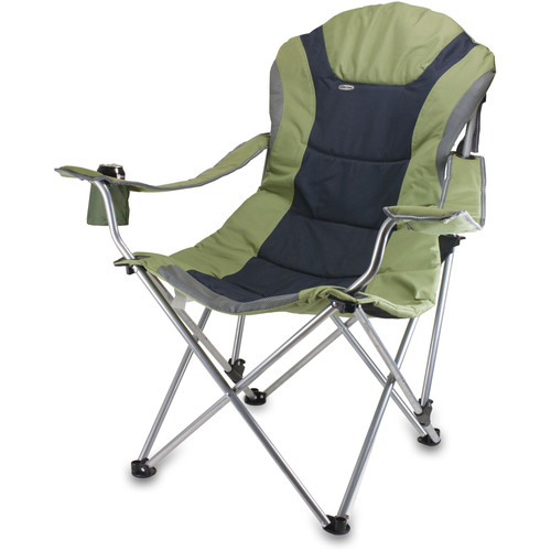 Picnic Time Reclining Camp Chair (Sage Green and Dark Gray)