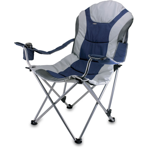 Picnic Time Reclining Camp Chair (Navy and Silver Gray)
