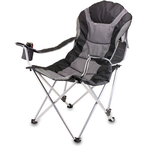 Picnic Time Reclining Camp Chair (Black and Gray)