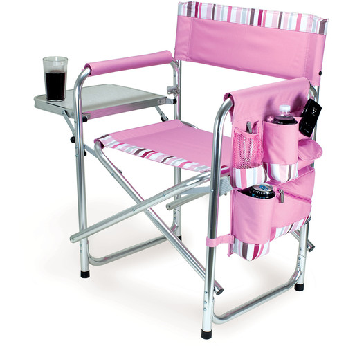 Picnic Time Sports Chair (Pink with Stripes)