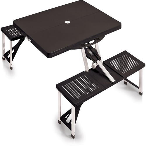 Picnic Time Portable Picnic Table with Benches (Black)