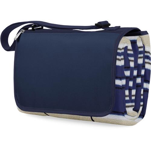 Picnic Time Blanket Tote (Blue Stripes & Navy)