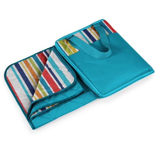 Picnic Time Vista Outdoor Blanket (Aqua Blue/Multi Stripes)