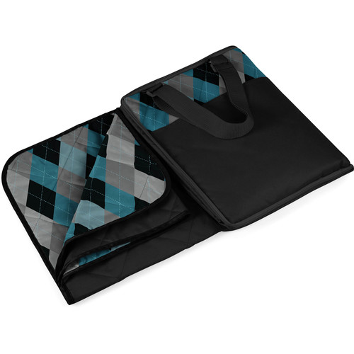 Picnic Time Vista Outdoor Blanket (Black/Blue Argyle)