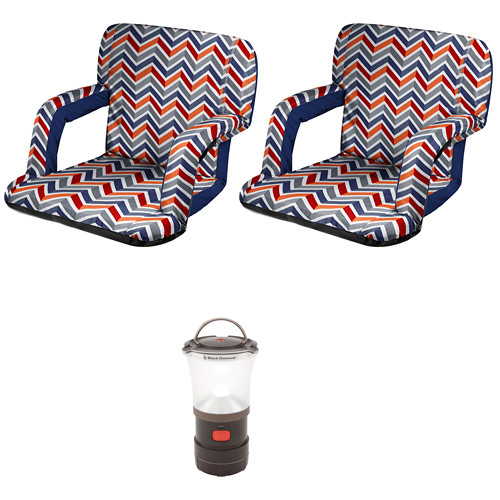 Picnic Time Ventura Recliner Seats (2) with LED Camp Lantern Kit