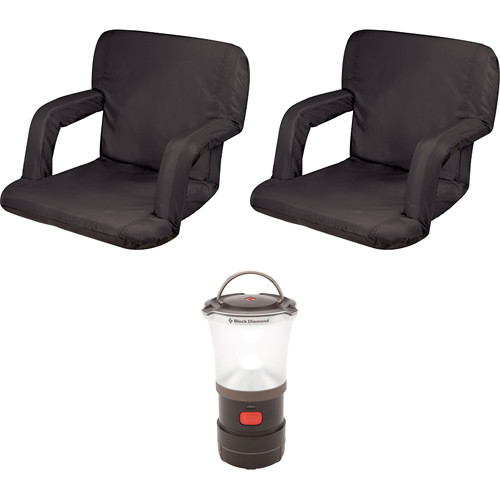 Picnic Time Ventura Black Seat Recliners (2x) with LED Lantern