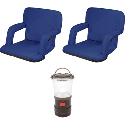 Picnic Time Ventura Blue Seat Recliners (2x) with LED Lantern