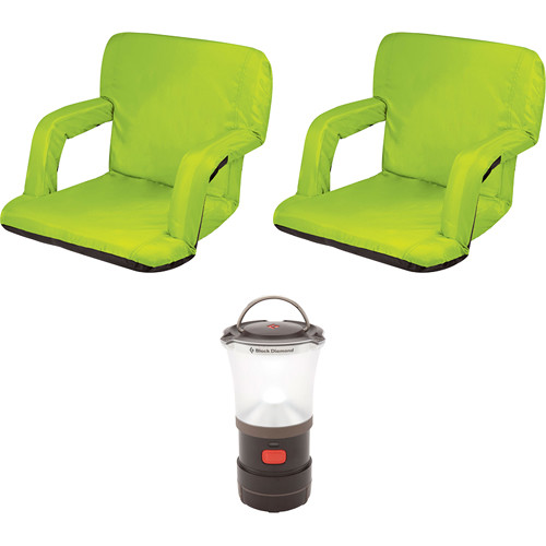Picnic Time Ventura Lime Seat Recliners (2x) with LED Lantern