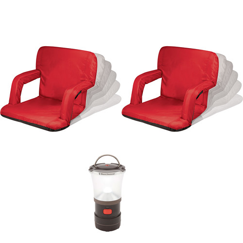 Picnic Time Ventura Red Seat Recliners (2x) with LED Lantern