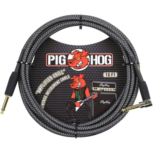 Pig Hog Vintage-Series Woven Instrument Cable (Amplifier Grill, 10', Right Angle)
