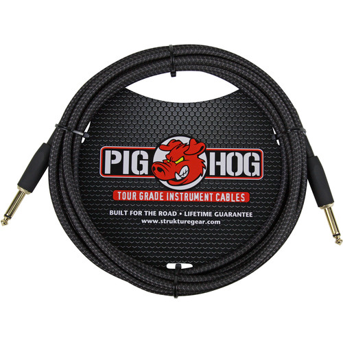 Pig Hog Vintage-Series Woven Instrument Cable (Pitch Black, 10')