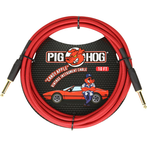 Pig Hog Vintage-Series Woven Instrument Cable (Candy Apple Red, 10')