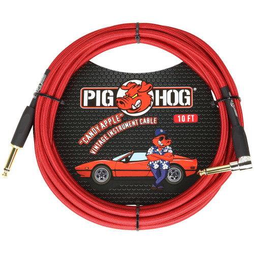 Pig Hog Vintage-Series Woven Instrument Cable (Candy Apple Red, 10', Right Angle)