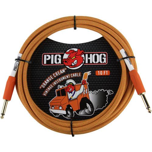 Pig Hog Vintage-Series Woven Instrument Cable (Orange Cream, 10')