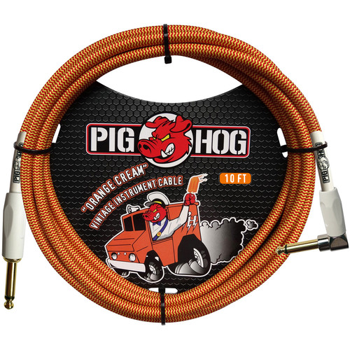 Pig Hog Vintage-Series Woven Instrument Cable (Orange Cream, 10', Right Angle)