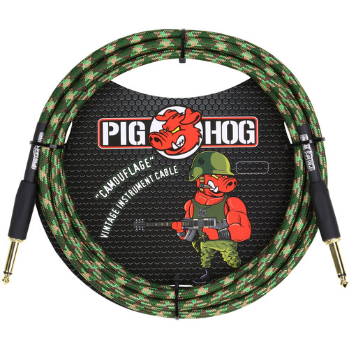 Pig Hog Vintage-Series Woven Instrument Cable (Camouflage, 10')