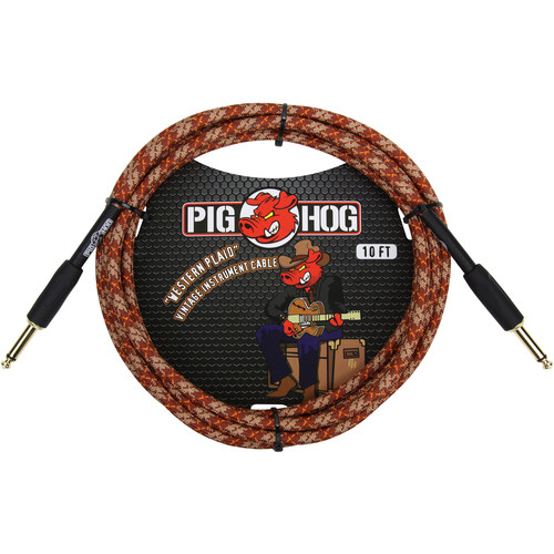 Pig Hog Vintage-Series Woven Instrument Cable (Western Plaid, 10')