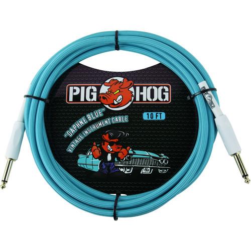 Pig Hog Vintage-Series Woven Instrument Cable (Daphne Blue, 10')