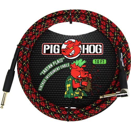 Pig Hog Vintage-Series Woven Instrument Cable (Tartan Plaid, 10', Right Angle)