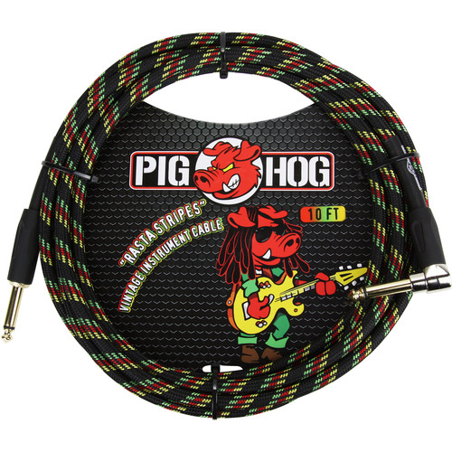 Pig Hog Vintage-Series Woven Instrument Cable (Rasta Stripes, 10', Right Angle)
