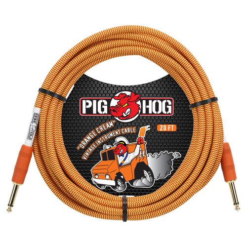 Pig Hog Vintage-Series Woven Instrument Cable (Orange Cream, 20')