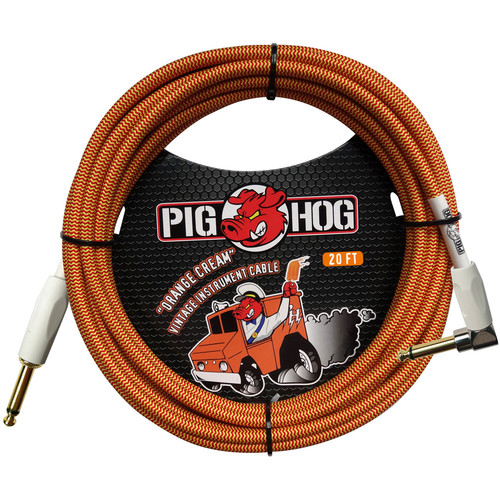 Pig Hog Vintage-Series Woven Instrument Cable (Orange Cream, 20', Right Angle)