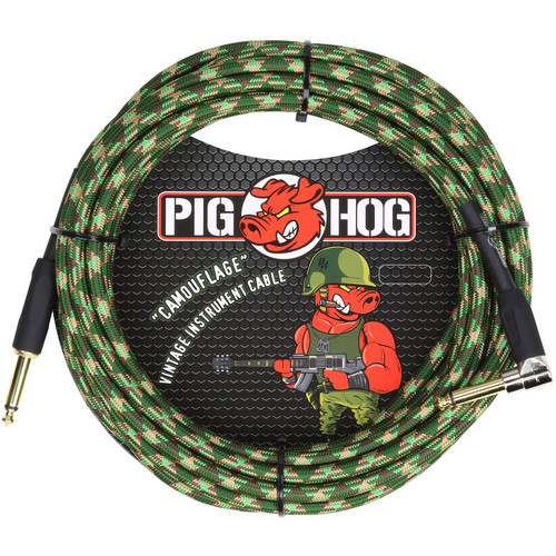 Pig Hog Vintage-Series Woven Instrument Cable (Camouflage, 20', Right Angle)
