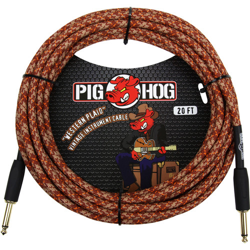 Pig Hog Vintage-Series Woven Instrument Cable (Western Plaid, 20')
